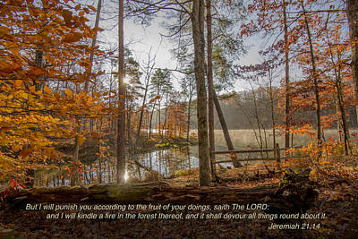 Photograph - Brown County State Park Nashville Indiana Biblical Verse Ogle Lake Jeremiah  by David Haskett II