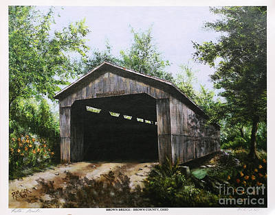 Covered Bridge Painting - Brown Covered Bridge Brown County Ohio by Rita Miller