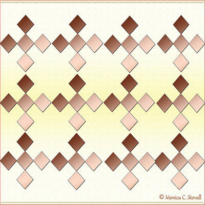 Digital Art - Brown Diamonds Complementary Color Design by Monica C Stovall