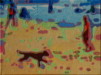 Brown Dog On Beach Art Print