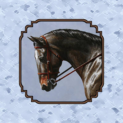 English Riding Painting - Brown Dressage Horse Pillow Blue by Crista Forest