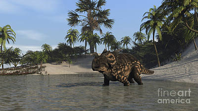 Digital Art - Brown Einiosaurus In Shallow Water by Kostyantyn Ivanyshen