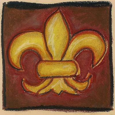 Pastel - Brown Fleur De Lis by Katie Sasser