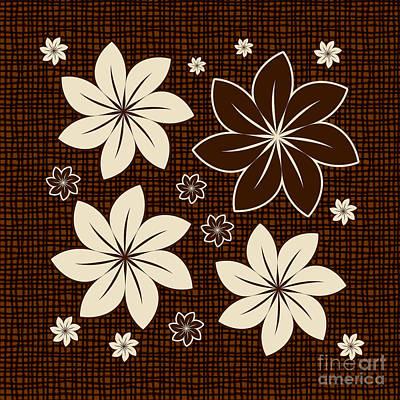 Brown Floral Design Art Print by Gaspar Avila