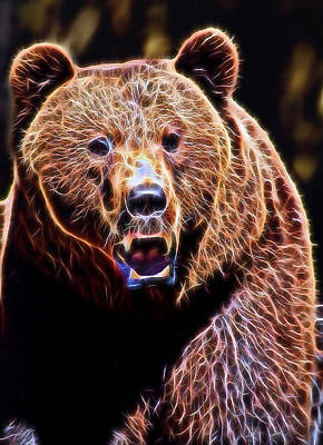 Kodiak Digital Art - Brown Grizzly by Daniel Hagerman