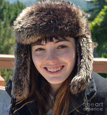 Pretty Photograph - Brown Haired And Freckle Faced Natural Beauty Model Wearing A Hat by Jim Fitzpatrick