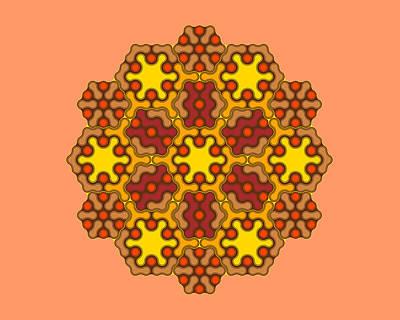 Algorithmic Digital Art - Brown Hexagonal Mandala by Michael Connolly