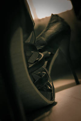 Photograph - Brown High Heels Stylish Shoes by Vlad Baciu
