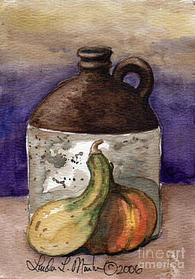 Stoneware Painting - Brown Jug And Gourds by Linda L Martin