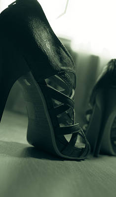 Photograph - Brown Leather High Heel Shoes by Vlad Baciu