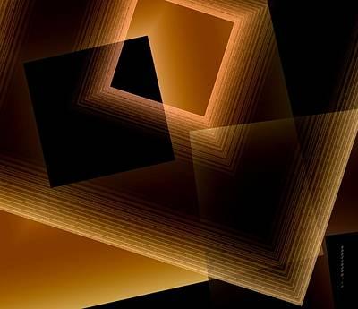 Brown Lines In Geometric Art Art Print by Mario Perez