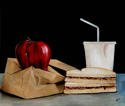 Kid And Cup Painting - Brown Lunch Bag by Michelle Iglesias