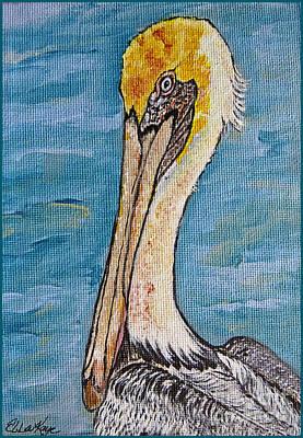 Beach Landscape Drawing - Brown Pelican by Ella Kaye Dickey