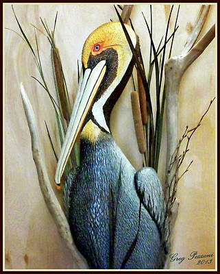 Pelican Mixed Media - Brown Pelican by Greg Pezzoni