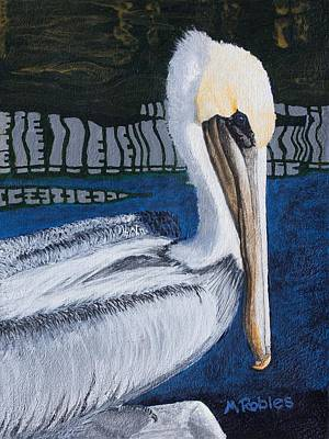 Painting - Brown Pelican Resting by Mike Robles
