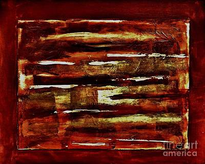 Brown Red And Golds Abstract Art Print by Marsha Heiken