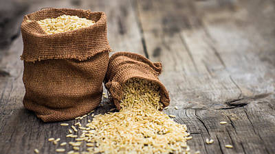 Brown Rice Bags Print by Aged Pixel