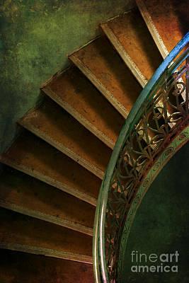 Brown Spiral Stairs With Blue Handrail Print by Jaroslaw Blaminsky