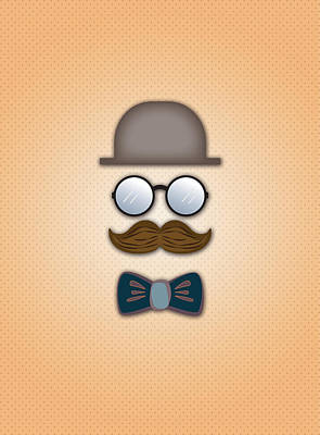 Brown Top Hat Moustache Glasses And Bow Tie Art Print
