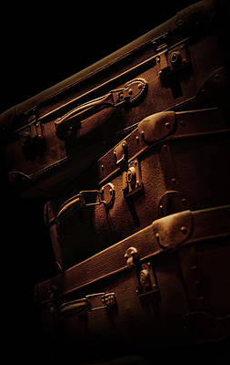Treasure Box Photograph - Brown Travelling Suitcases by Jaroslaw Blaminsky