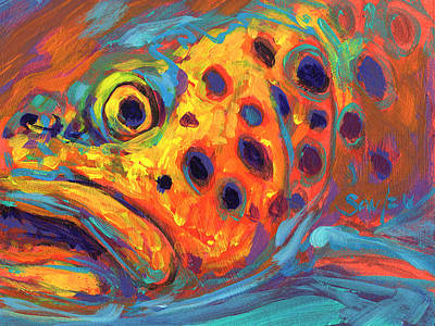 Trout Painting - Brown Trout Expressionist Portrait by Savlen Art
