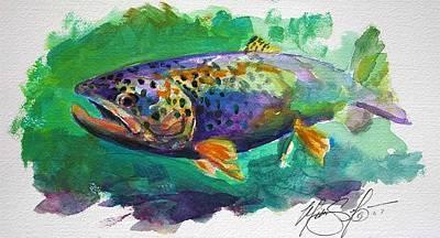 Brown Trout Print by Savlen Art