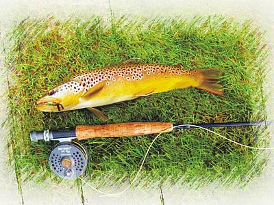 Photograph - Brown Trout On The Fly by Joe Duket