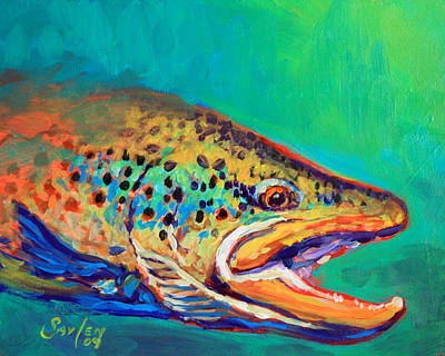 Trout Painting - Brown Trout Portrait by Savlen Art