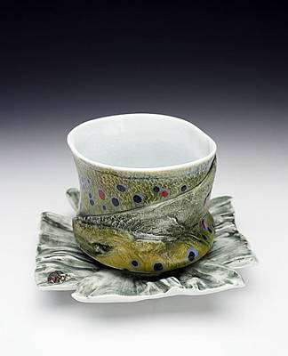 Ceramic Art - Brown Trout Yunomi And Fish Tail Saucer  by Mark Chuck