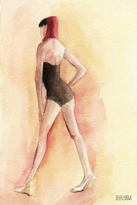 Bathing Painting - Brown Vintage Bathing Suit 1 Fashion Illustration Art Print by Beverly Brown