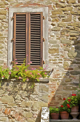Photograph - Brown Wood Window Shutters With Flowers In A Medieval Village In Tuscany by David Letts