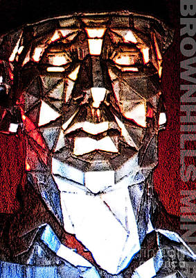 Gas Lamp Mixed Media - Brownhills Miner Face by Neil Finnemore