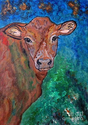 All Cowboy Painting - Brownie The Brown Cow by Ella Kaye Dickey
