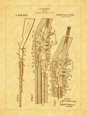 Browning 1922 Firearm Patent Art Print by Barry Jones