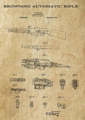 Browning Automatic Rifle 2 Patent Art 1919 Art Print by Daniel Hagerman