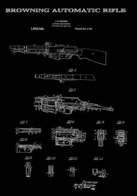2nd Amendment Digital Art - Browning Automatic Rifle Patent Art 1919 by Daniel Hagerman