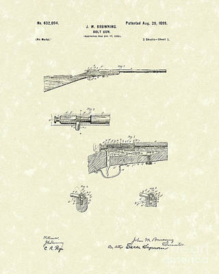 Drawing - Browning Bolt Gun 1899 Patent Art by Prior Art Design