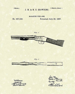 Browning Fire Arm 1887 Patent Art Art Print