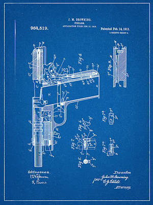 Browning Firearm Invention And Patent Art Print by Decorative Arts