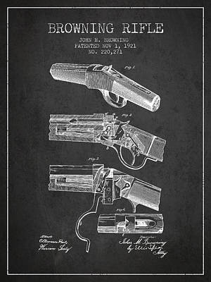 Smallmouth Bass Digital Art - Browning Rifle Patent Drawing From 1921 - Dark by Aged Pixel
