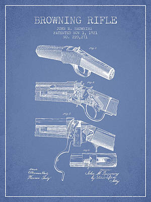 Bass Digital Art - Browning Rifle Patent Drawing From 1921 - Light Blue by Aged Pixel