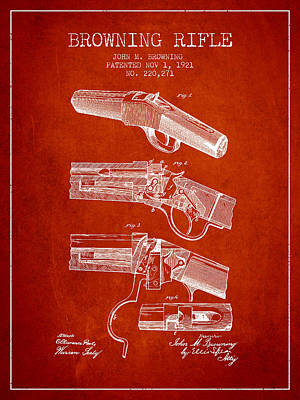 Smallmouth Bass Digital Art - Browning Rifle Patent Drawing From 1921 - Red by Aged Pixel