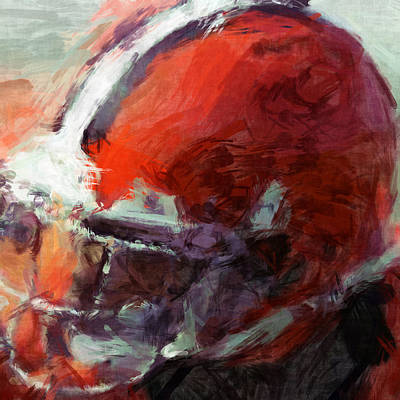 Sports Royalty-Free and Rights-Managed Images - Browns Art Helmet Abstract by David G Paul
