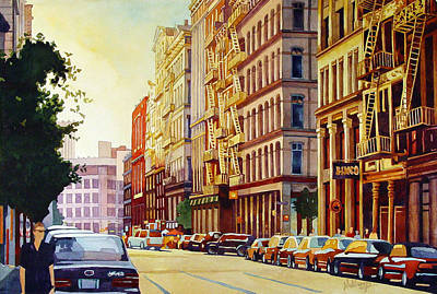 Brownstone Sunset Original by Mick Williams