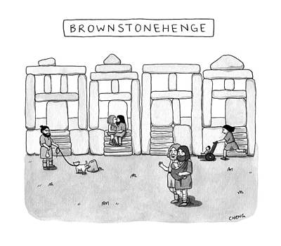 Hipster Drawing - Brownstonehenge by Alice Cheng