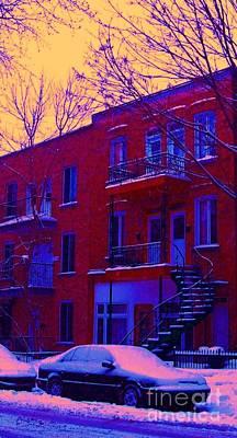 Montreal Winter Scenes Photograph - Brownstones In Winter 6 by Carole Spandau