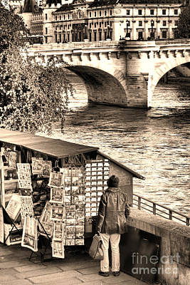 Seine River Wall Art - Photograph - Browsing The Outdoor Bookseller  by Olivier Le Queinec