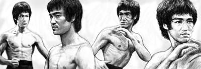 Bruce Lee Art Drawing Sketch Poster Art Print by Kim Wang