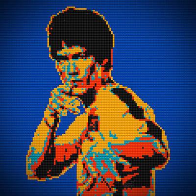 Bruce Lee Lego Pop Art Digital Painting Art Print