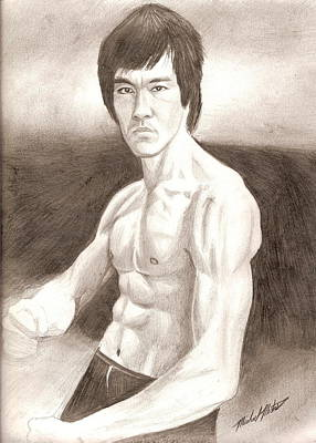 Drawing - Bruce Lee by Michael Mestas